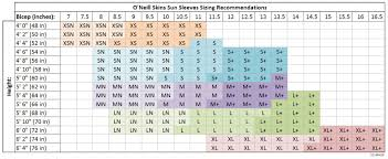 O Neill Youth Size Chart Details About Oneill Skins Sun Sleeves For Men Women And Youth