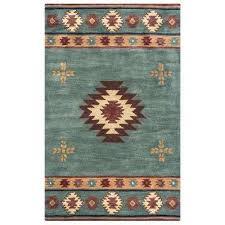 southwest blue grey 8 ft x 8 ft round area rug
