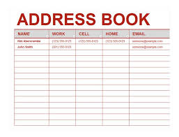 contact directory template sample address book template