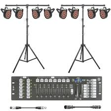 school stage lighting kit with 8 x slim led par 56 dmx controller stand cable