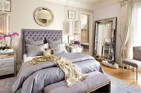 Luxury Bedroom Using Floor Mirror And Wall Mirror Also Silk Purple Bedding  And Have Tufted Headboard
