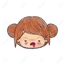 カワイイの色クレヨン シルエット頭ダブルお団子髪と不快な表情