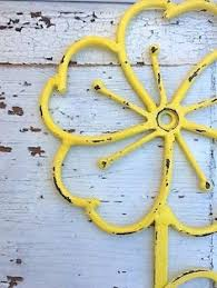 metal wall decor shop hobby: wall hook shabby chic yellow flower wall hanging distressed metal wall decor