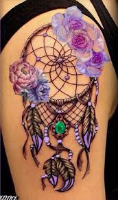 Dream Catcher Tattoo On Thigh Lavender flower dream catcher tattoo body art Pinterest 27