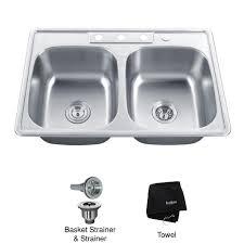kraus ktm33 33 inch topmount 50 50 double bowl 18 gauge stainless steel kitchen sink expressdecor com