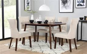 suffolk oval dark wood dining table with 4 bewley oatmeal chairs
