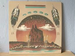 Native American Home Decor Vintage 1960s Wallace Watchman Sand Painting New Mexico