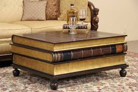 maitland smith leather gold leaf book coffee or tail table