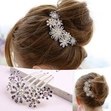 Decorative Hair Clips Accessories New Women Beautiful Crystal Decorate Petal Tuck Hair Comb Flower 2
