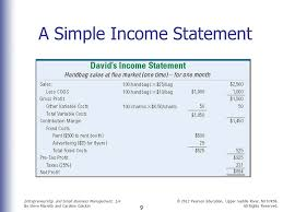 Simple Income Statement Simple Financial Statement For Small Business Major