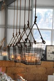 stunning wire basket chandelier hanging basketswish i could put these on a pulley system from