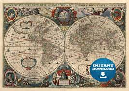 digital vintage antique world map