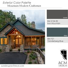 Beautiful exterior color palette, perfect for mountain home. BM Vanderberg  Blue and BM Iron