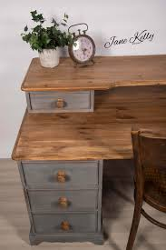 pine office desk. Upcycled Vintage Pine Office Desk. Homemade Chalk Paint Desk