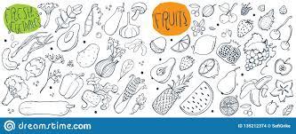 эскизы руки вычерченные для свежих фруктов и овощей иллюстрация