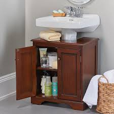 bathroom storage under sink. Wooden Weatherby Bathroom Pedestal Sink Storing Cleaning Supplies, Toilet Paper, And Other Toiletries Storage Under O