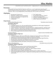 Machine Operator Resume Example Examples Of Resumes
