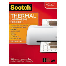 Scotch™ 11 100 Pouches Thermal Size 9 Laminating pack Letter X 1 5 Mil 2 Target