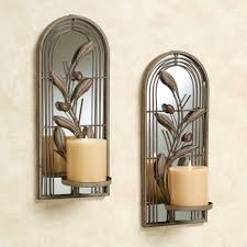 wondrous mirrored arched candle holders design with fl ornate decoration and two white candle featured gorgeous arterios candle holders wall sconce