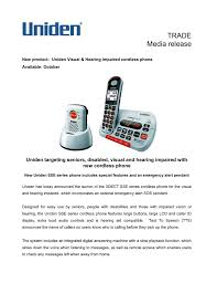 uniden announces the launch of the xdect sse series cordless phone for the visual and hearing impaired which incorporates an optional emergency alert sos