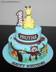 Animals Theme 2 Layer Customized Designer Fondant Cake For Girls