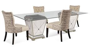 dining table set with leaf. Borghese Dining Set With Script Chairs (Antique Mirror \u0026 Silver Leaf Finish) - [8311-000-AAB] Table E