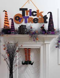 home decor wonderful home fireplace mantle gothic decorations featuring dark gloomy witch hats and