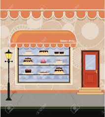 Storefront Bakery Adjacent City Streets Royalty Free Cliparts