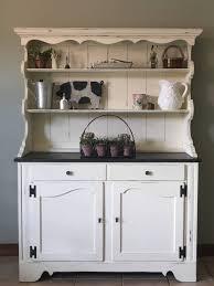 Kitchen China Cabinet Hutch Furniture Shabby Chic Black Large