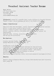 Preschool Teacher Resume For Assistant Director Position Perfect