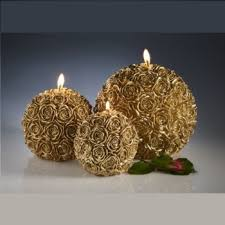 ball candles. refillable rose ball candles. gold candles i
