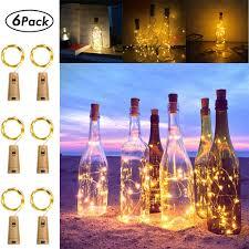 Amazon Cork Bottle Lights 6 Pack Cork Lights 6 56 Ft 20 Led Wine Bottle Lights Battery Operate Waterproof Silver Fairy Lights For Liquor Bottles Crafts Bedroom Diy Party