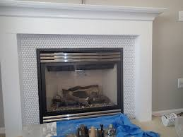 penny tile around fireplace - Google Search