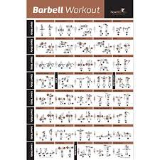 Barbell Workout Exercise Poster Laminated Home Gym Weight Lifting Chart Build Muscle Tone Tighten Strength Training Routine Body Building