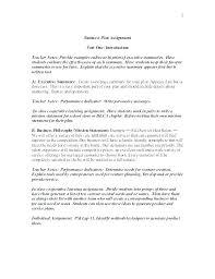 Business Executive Summary Template Sample Of Executive