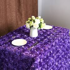 purple 3d rose flower tablecloths 60x102 inches wedding round table cloth overlays wedding decoratio
