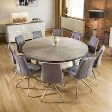 large round 1 8 grey oak dining table 10 grey velvet swivel chairs