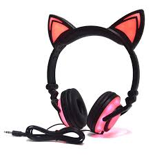 Light Pink Earphones Cute Cat Ear Headset Led Light With Usb Chargeable Foldable Earphones For Ipad Tablet Computer Mobile Phone Black Pink