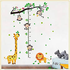Monkey Growth Chart Wall Giraffe And Monkey Tree Removable Height Chart Wall Sticker Kids Growth Chart Wall Decal Measure Wall Decor For Nursery Deoration