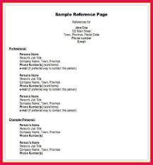 Sample Professional References Page Professional References Format Sop Examples