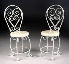 white wrought iron furniture. $140.00 Set Of 2 Chairs #307-BC White Wrought Iron Furniture