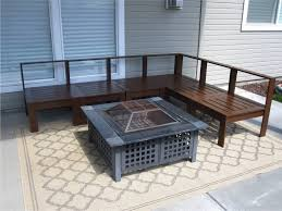 Nice Diy Outdoor Patio Wooden Sectional Furniture Including Square Metal  Firepit And Traditional Moroccan Outdoor Rug