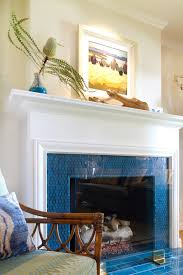glass tile fireplace surround living room beach with beach