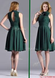 new high neck handmade flower dark green christmas party dress