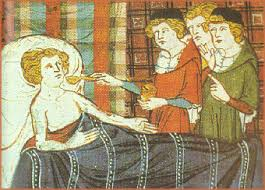 The Doctors taking care of their patients in medieval times.