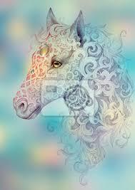 Fototapeta Tattoo Krásná Hlava Koně S Hřívou