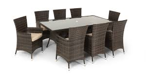 rattan garden dining set large 8 seater dining table 8 arm chairs with
