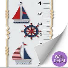 Nautical Growth Chart Growth Chart Nautical Ocean Boat Whale Anchor Wall Decal