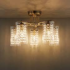 endon alda semi flush ceiling light 5x40w e14 candle brass glass drops shade 5016087906918