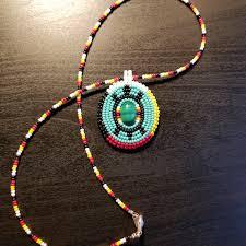 Design And Adorn Beading Studio Beaded Turtle Pendant Necklace Malachite Stone Surrounded
